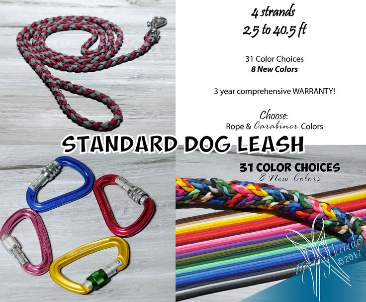 2.5 to 40.5 ft - Standard Paracord Dog leash - 4 strands - Screw climbing carabiner - Heavy Duty - Customizable: colors, length and style!