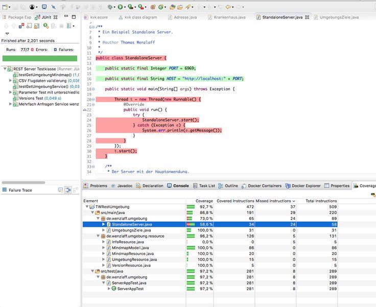 Java Code Coverage in Eclipse Oxygen.1A läuft mit EclEmma