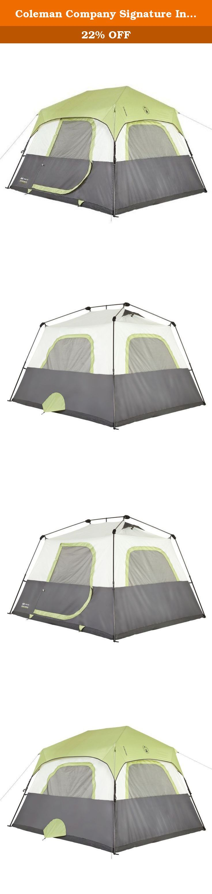 Coleman Company Signature Instant Cabin 6 Person Double Hub Tent, Black/Grey. Get to the fun faster with the Coleman 6-Person Instant Tent. Set up the tent in a minute and take it down in the same time. It's big enough to hold two queen airbeds and tall enough for campers to stand up and move, making this tent feel a lot like home. When the weather gets rough, count on the WeatherTech System and fully-taped seams to keep you dry. At two times the thickness of standard material, the fabric…