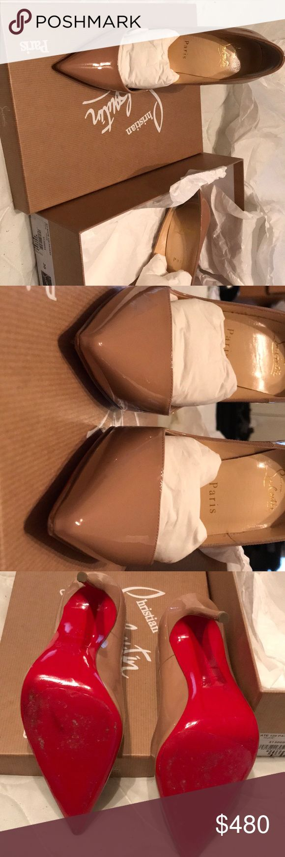 So Kate 120 PATENT Nude Christian Louboutin Like New! Worn 2x's With clear sole protector's Christian Louboutin Shoes Heels