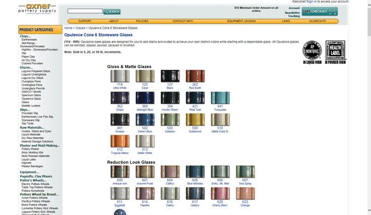 Axner Pottery Supply Cone 6 glazes