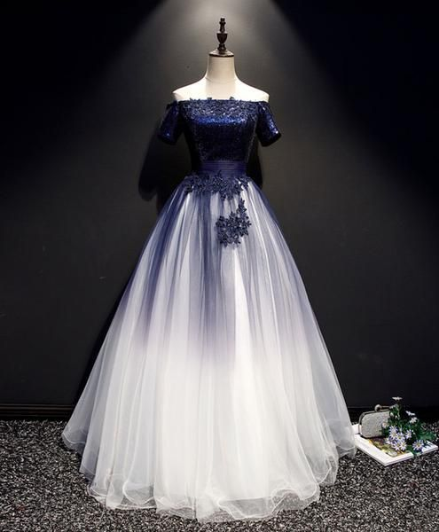 Blue tulle lace long prom dress, blue tulle lace formal dress 8