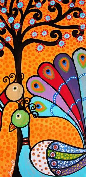 Peacock Whimsical Tree Painting; great gift ideas, birthday, room design, bedroom, nursery, dorm girls room