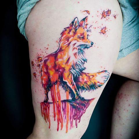 watercolor fox tattoos - Google Search