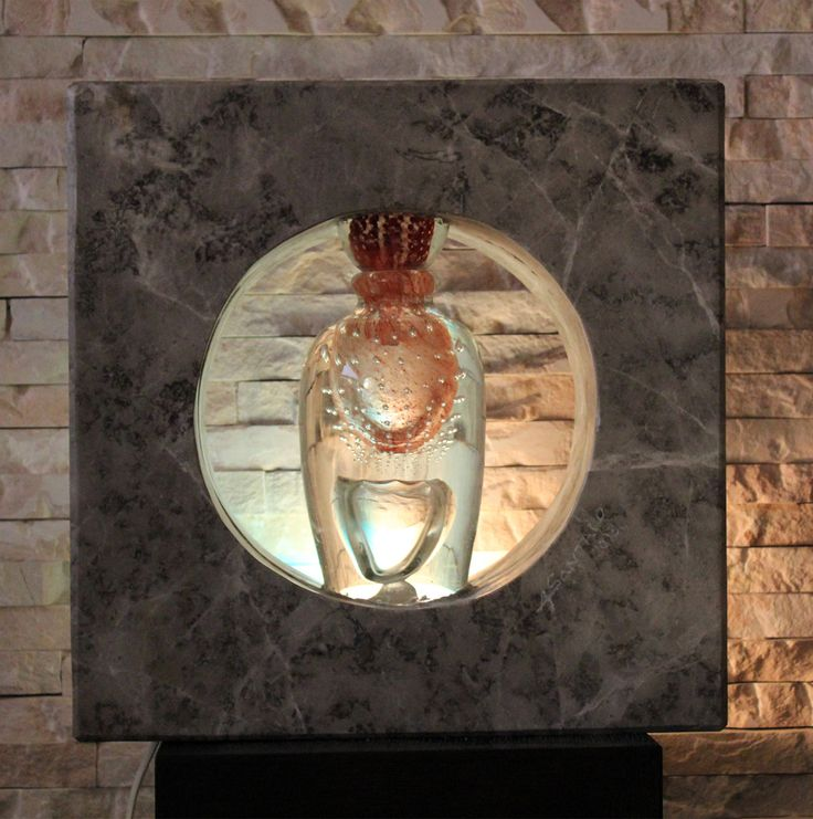 Stone (from RAK) and Glass (blown by Novaro) interior Lamp designed and made by Amedee Santalo. (sold)