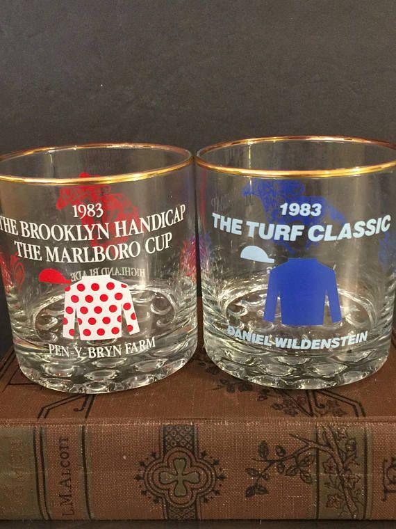 Mid Century Barware Horse Racing Glasses Set 2 NYRA Red Blue