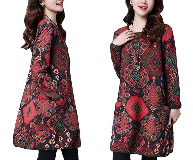 Autumn Winter Women Printed O-Neck Long Sleeve Pocket Cotton Mini Dress - Newchic Fashion Dress