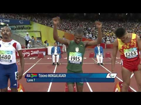 Athlete's with Cerebral Palsy Men's 100m final (T35) from Beijing 2008. Jordan Howe and Sam Ruddock from Team GB will be hoping to racing to qualify for the finals