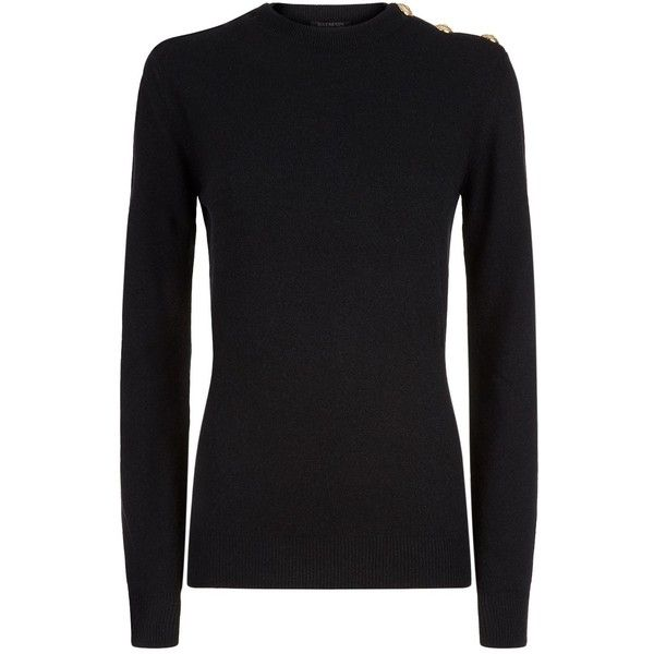 Balmain Wool-Cashmere Button Neck Sweater (4.265 BRL) ❤ liked on Polyvore featuring tops, sweaters, balmain top, balmain, balmain sweater, relaxed fit tops and lion sweater