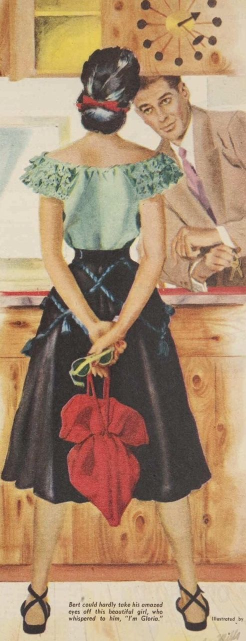 50s color illustration vintage fashion style kitchen skirt peasant blouse black green red cloth purse hair sunglasses Fifties' girl