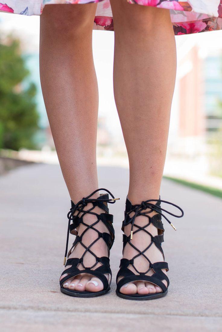 Dalton lace up sandal heel black