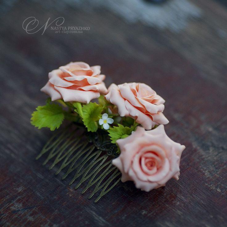 Свадебный гребень для волос с розами