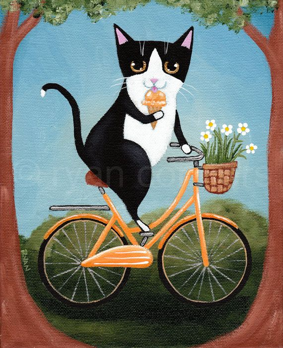 "CAT Art Tuxedo Cat on a Bicycle Eating Ice Cream by KilkennyCatArt  ""Summer Bicycle Ride""  -Painted with Golden acrylics. -8"" x 10"" Wrapped canvas -Topped with two coats of gloss varnish. -Signed, titled, and dated on the back by me!  What better way to cool off than taking a lovely bicycle ride while eating some delicious ice cream!"