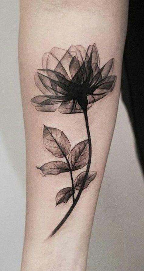 Schöne schwarze Magnolia Arm Tattoo-Ideen für Fr…