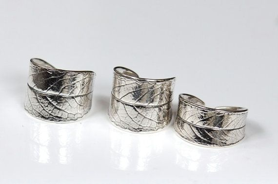 Leaf ring, silver willow leaf open adjustable. Various sizes available. Sterling silver.