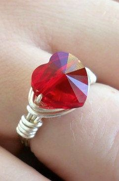 The most popular jewelry item in our Etsy shop is this custom-made wire-wrapped Swarovski Crystal Heart ring. Available in Siam Red and Crystal AB. Just tell us the size you need. Ships within 24 hours of purchase. Great gift for Mother's Day.