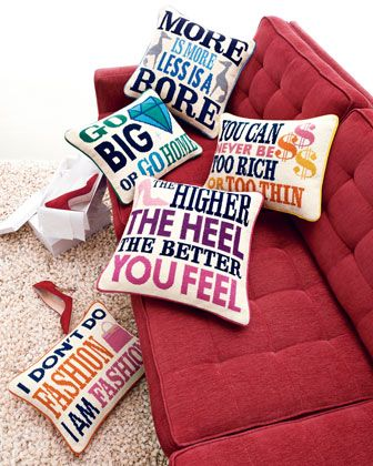 the ken downing gift collection jonathan adler needlepoint pillows at neiman marcus i like u0027the higher the heel the better you feelu0027 p