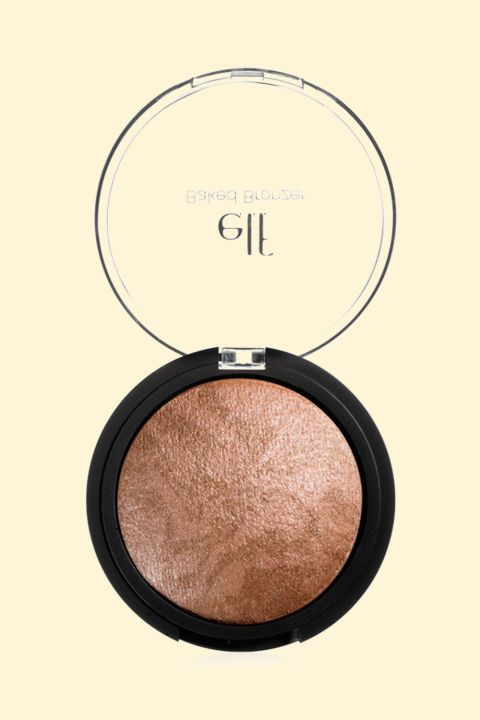 Your best bet for tasteful shimmer, this lightweight baked formula also contains a slew of moisturizing active ingredients like rose, jojoba, and grape.  E.L.F. Studio Baked Bronzer, $3.99; walmart.com.