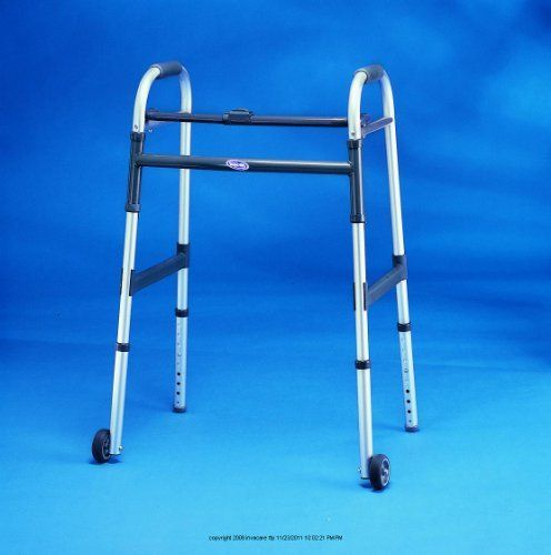 "I-Class Dual-Release Paddle Folding Walker, Wlkr Jr Dual Rls 5in Fix Wh, (1 CASE, 4 EACH) by INVACARE CORPORATION. $277.54. (Item Number and Quantity: UHS-INV6291JR5F-1CASE-4EACH) I-Class Dual-Release Paddle Folding Walker, Wlkr Jr Dual Rls 5in Fix Wh Style-Junior W/5"" Wheels, Fits Users-4' 4"" - 5' 8"", Height Adjusts-27"" - 33"", Depth-Open: 16 1/2"", Folded: 4 1/2"", Width-Hand Grips: 17"", Base Legs: 20 1/4"", Weight-5 lb, 3 oz, - (1 CASE, 4 EACH) - Unique folding mechanism consi..."
