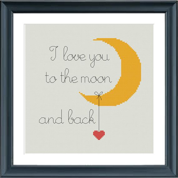 modern cross stitch pattern I love you to the moon by Happinesst