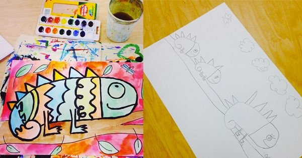 """Teach and Shoot: elementary art - 1st grade art lesson to go along with books, """"The Mixed up Chameleon"""" and """"A Color of His Own""""."""