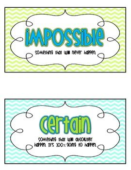 Here's an activity where students sort probability statements into the categories certain and impossible. Includes center materials and a cut and paste version for students.