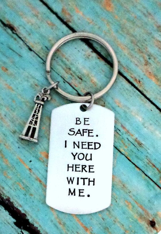 Be Safe, Oil Derrick Keychain, Oilfield Wife, Oilfield Girlfriend, Gift for Oil Field Men, Oil Field Worker, Fathers Day Keychain, Lineman by HandmadeLoveStories on Etsy
