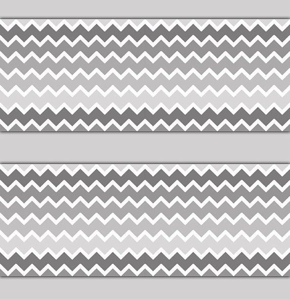 CHEVRON WALLPAPER BORDER Gray Grey Ombre Wall Decals Baby Girl Boy Nursery Childrens  Bedroom Kids Room Zigzag Pattern Art Stickers Decor