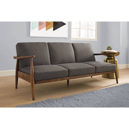 Better Homes and Gardens Mid Century Futon, Multiple Colors, Gray