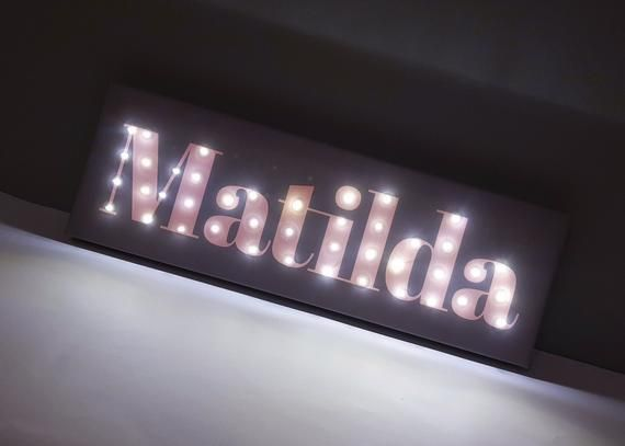 Custom Lighted Sign Name Sign Nursery Light Up Letters Gray Etsy Light Up Signs Nursery Signs Light Up Letters