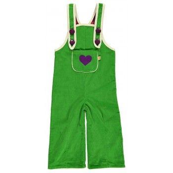 Crawlers til store piger fra Alba Baby/Kid i frisk grøn fløjl