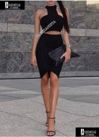 2668-Μαύρο MINI φόρεμα με άνοιγμα στη μέση