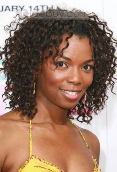 最新のアフリカ系アメリカ人ヘアスタイルミディアムカーリーブラウンフルレースウィッグ100%人毛約10インチ