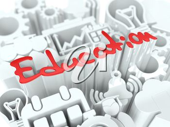 iCLIPART - Clip Art Illustration of the Word Education and Icons #3d #education #clipart