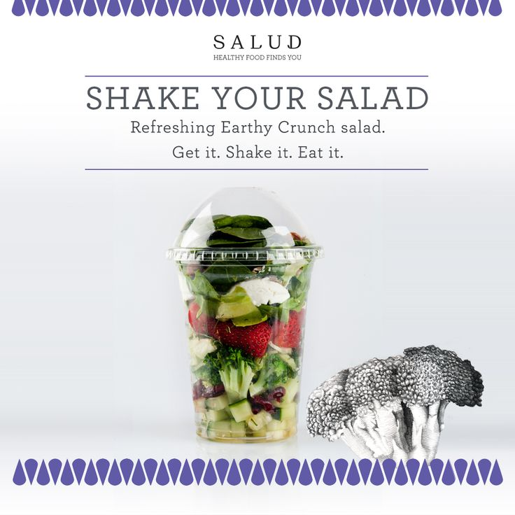 Shake your Salad  It's Meat-free Monday, so start your week with an Earthy Crunch: packed with the freshest broccoli, creamy Chevin goats cheese and the juiciest strawberries, it's a healthy taste sensation you won't want to miss. Order now. www.salud.co.za