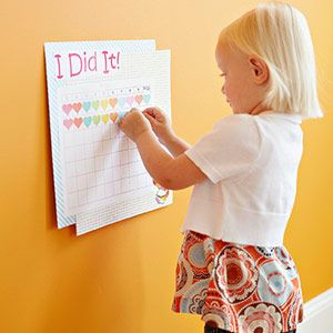 Potty Training! Create a day-to-day chart and decorate it with your child's favorite superhero or TV character. After each successful trip to the bathroom, she can place a colorful sticker on the chart.