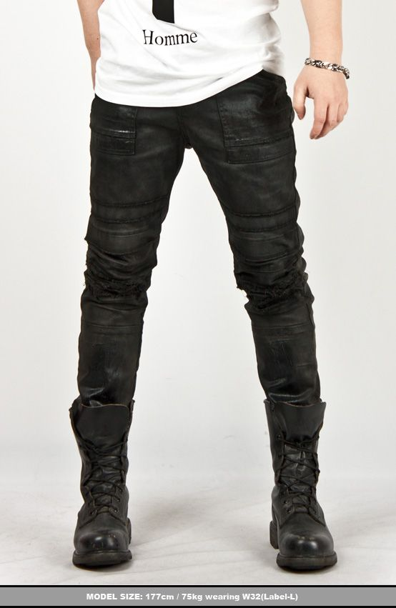 Avant Garde Hardcore Wax Coated Slim Black Biker Jeans - Pants & Jeans | RebelsMarket