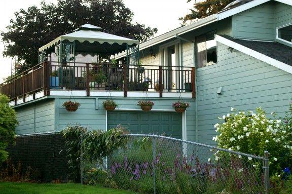 98 best decks images on pinterest for Deck over garage plans