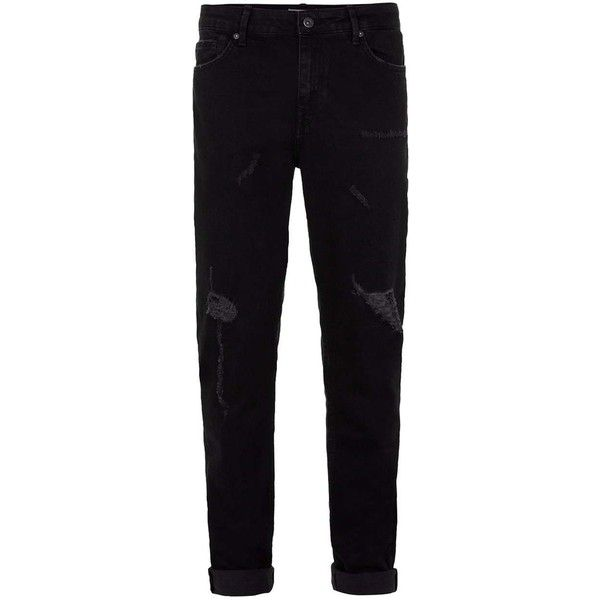 TOPMAN Black Distressed Stretch Skinny Jeans ($55) ❤ liked on Polyvore featuring men's fashion, men's clothing, men's jeans, black, men, mens dark wash jeans, mens distressed skinny jeans, mens super skinny jeans, mens torn jeans and mens ripped jeans