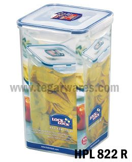 Lock n Lock HPL 822R: Size 155 x 155 x 257 mm capacity 4.0 L High food container can serve as jars, air-tight system keep crackers, chips, or you remain crunchy snack.