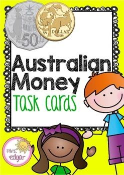Australian Money:Australian Money Task Cards This pack contains one set of 28 Australian Money Word Problem (problem solving) task cards in a colourful template (will also look great printed in black and white).See a photo of similar (elapsed time) task cards printed!They are great for Math centres, independent work, Quiz Quiz Trade, test review or for early finishers.