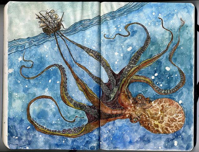 Octopus Shipwreck Drawing Octopus attacks...