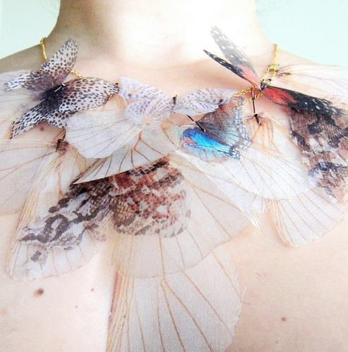 Fluttery Breath of Life Necklace ....: Amazingly ethereal printed organza piece by Derya Aksoy of Jewelera