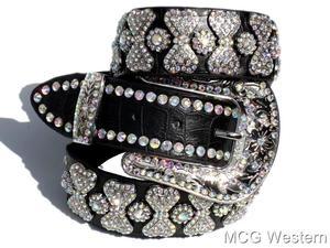Cowgirl Rhinestone Black Genuine Leather Ladies Western Bling Belt | eBay