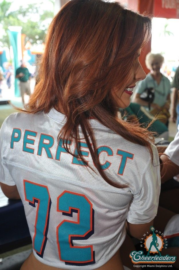 Miami Dolphins Cheerleaders from today wearing a retro '72 season undefeated jersey. I hope the Dolphins stay perfect for the rest of my life.