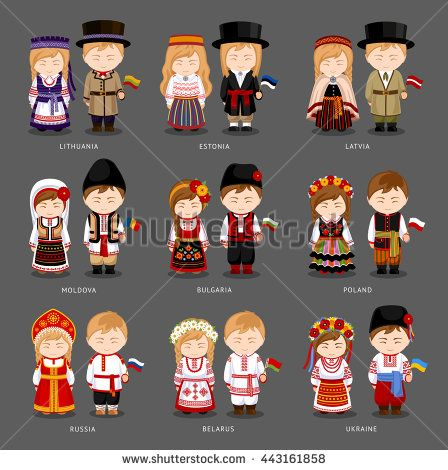 People in national dress. Latvia, Lithuania, Estonia, Bulgaria, Moldova, Poland, Russia, Ukraine, Belarus. Set of european pairs dressed in traditional costume. National clothes. Vector illustration.