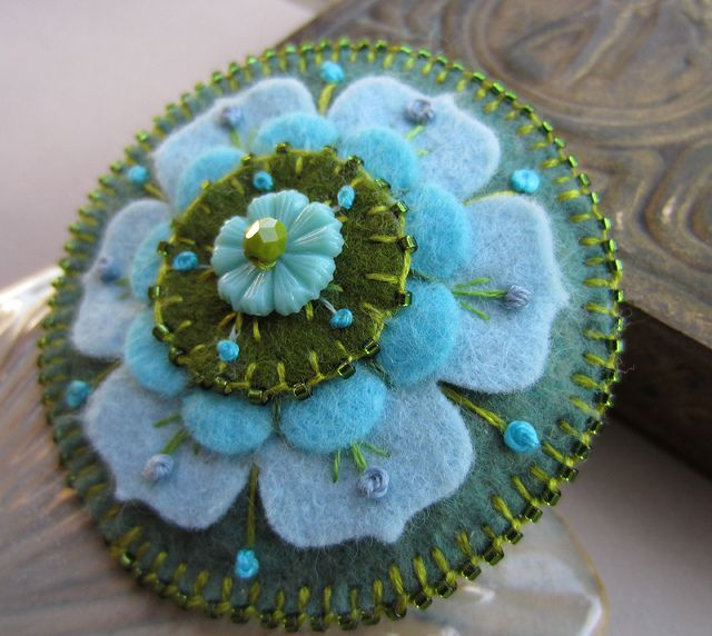 gfelt flower pin by skippingstonesjewelry, via Flickr