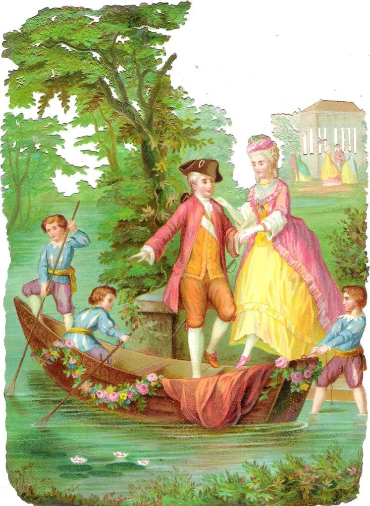 Oblaten Glanzbild scrap die cut chromo Paar couple XL 22,5cm Lady Dame Boot boat