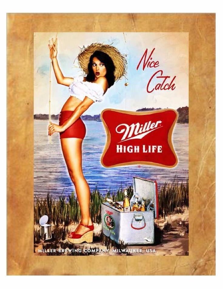 Miller High Life Vintage Beer Sign Beer Sign Beer AD Man Cave 8X10 Photo