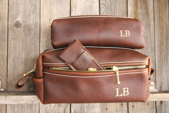 Leather Dopp Kit Bag Groomsmen Gifts For Him Leather